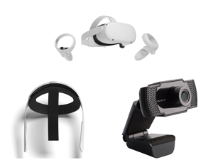 Oculus Quest 2 - Advanced All-In-One Virtual Reality Headset - 256 GB and Oculus Quest 2 Elite Strap for Enhanced Support and Comfort in VR and SLIDE WB13 2.0 M Effective Pixels USB 2.0 WebCam