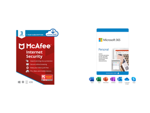 McAfee Internet Security 2021 1 Year / 3 Devices - Download and Microsoft 365 Personal | 12-Month Subscription 1 person | Premium Office apps | 1TB OneDrive cloud storage | PC/Mac Download