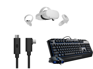 Oculus Quest 2 - Advanced All-In-One Virtual Reality Headset - 64 GB and Oculus Link Virtual Reality Headset Cable for Quest 2 and Quest - 16 ft. (5M) - PC VR and Devastator 3 Gaming Combo with RGB Keyboard and Mouse Featuring Seven Differe