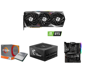 MSI GeForce RTX 3090 DirectX 12 RTX 3090 GAMING X TRIO 24G 24GB 384-Bit GDDR6X PCI Express 4.0 HDCP Ready SLI Support Video Card and AMD RYZEN 9 3900X 12-Core 3.8 GHz (4.6 GHz Max Boost) Socket AM4 105W 100-100000023BOX Desktop Processor an