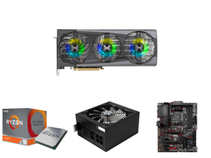 SAPPHIRE NITRO+ Radeon RX 6800 XT SE Gaming Graphics Card with 16GB GDDR6 AMD RDNA 2 (11304-01-20G) and AMD RYZEN 9 3900X 12-Core 3.8 GHz (4.6 GHz Max Boost) Socket AM4 105W 100-100000023BOX Desktop Processor and Rosewill Glacier Series 850