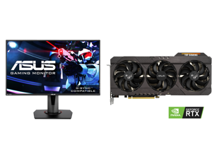 """ASUS VG278Q 27"""" Full HD 1920 x 1080 144Hz 1ms DisplayPort HDMI DVI Asus Eye Care with Ultra Low-Blue Light Flicker-Free AMD Free Sync G-Sync Compatible Built-in Speakers LED Backlit Gaming Monitor and ASUS TUF Gaming GeForce RTX 3070 Direct"""