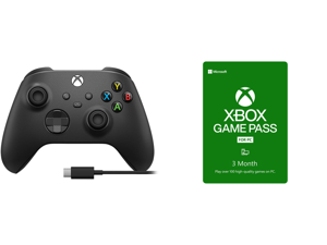 Microsoft 1V8-00001 Xbox PC Gaming Controller with Cable Gen 9 Carbon Black and Xbox Game Pass for PC 3 Month Membership US [Digital Code]