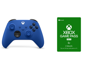Xbox Wireless Controller - Shock Blue and Xbox Game Pass for PC 3 Month Membership US [Digital Code]