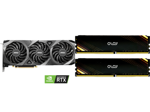 MSI GeForce RTX 3070 DirectX 12 RTX 3070 VENTUS 3X OC 8GB 256-Bit GDDR6 PCI Express 4.0 HDCP Ready Video Card and OLOy 16GB (2 x 8GB) 288-Pin DDR4 SDRAM DDR4 3200 (PC4 25600) Desktop Memory Model ND4U0832160BB1DA