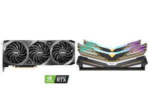 MSI GeForce RTX 3070 DirectX 12 RTX 3070 VENTUS 3X OC 8GB 256-Bit GDDR6 PCI Express 4.0 HDCP Ready Video Card and OLOy WarHawk RGB DDR4 3600 (PC4 28800) 16GB (2 x 8GB) 288-Pin Intel/AMD Ready Desktop Memory Model MD4U083618BEDA