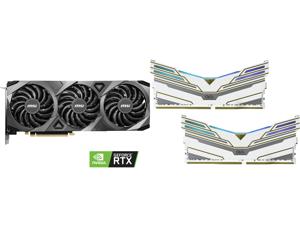 MSI GeForce RTX 3070 DirectX 12 RTX 3070 VENTUS 3X OC 8GB 256-Bit GDDR6 PCI Express 4.0 HDCP Ready Video Card and OLOy WarHawk RGB 16GB (2 x 8GB) 288-Pin DDR4 SDRAM DDR4 4000 (PC4 32000) Desktop Memory Model MD4U0840180BCWDX