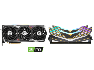 MSI GeForce RTX 3070 DirectX 12 RTX 3070 GAMING X TRIO 8GB 256-Bit GDDR6 PCI Express 4.0 HDCP Ready Video Card and OLOy WarHawk RGB DDR4 3600 (PC4 28800) 16GB (2 x 8GB) 288-Pin Intel/AMD Ready Desktop Memory Model MD4U083618BEDA