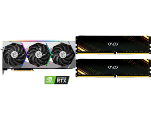 MSI GeForce RTX 3080 DirectX 12 Ultimate RTX 3080 SUPRIM 10G 10GB 320-Bit GDDR6X PCI Express 4.0 HDCP Ready Video Card and OLOy 16GB (2 x 8GB) 288-Pin DDR4 SDRAM DDR4 3200 (PC4 25600) Desktop Memory Model ND4U0832160BB1DA