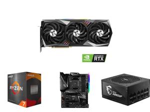 MSI GeForce RTX 3090 DirectX 12 RTX 3090 GAMING X TRIO 24G 24GB 384-Bit GDDR6X PCI Express 4.0 HDCP Ready SLI Support Video Card and AMD Ryzen 7 5800X 8-Core 3.8 GHz Socket AM4 105W 100-100000063WOF Desktop Processor and MSI MPG X570 GAMING
