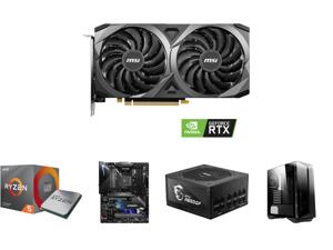 MSI GeForce RTX 3060 DirectX 12 Ultimate RTX 3060 Ventus 2X 12G OC 12GB 192-Bit GDDR6 PCI Express 4.0 HDCP Ready Video Card and AMD RYZEN 5 3600X 6-Core 3.8 GHz (4.4 GHz Max Boost) Socket AM4 95W 100-100000022BOX Desktop Processor and MSI M