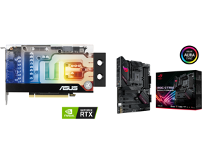 ASUS EKWB GeForce RTX 3070 8GB GDDR6 Video Card (PCIe 4.0 8GB GDDR6 Memory HDMI 2.1 DisplayPort 1.4a Protective Backplate Stainless Steel Bracket Single-slot Design and EK Water Block) and ASUS ROG STRIX B550-F GAMING AM4 AMD B550 SATA 6Gb/