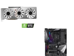 GIGABYTE GeForce RTX 3090 VISION OC 24GB Video Card GV-N3090VISION OC-24GD and GIGABYTE X570 AORUS MASTER (rev. 1.0) AMD Ryzen 3000 PCIe 4.0 SATA 6Gb/s USB 3.2 AMD X570 ATX Motherboard