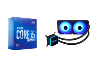 Intel Core i5-10600KF Comet Lake 6-Core 4.1 GHz LGA 1200 125W BX8070110600KF Desktop Processor and Enermax LIQMAX III RGB 240 All-in-one CPU Liquid Cooler for AM4 / LGA1200 240mm Radiator Dual-Chamber Water Block RGB Fan 5 Year Warranty
