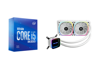 Intel Core i5-10600KF Comet Lake 6-Core 4.1 GHz LGA 1200 125W BX8070110600KF Desktop Processor and Enermax AQUAFUSION 240 Addressable RGB All-in-one CPU Liquid Cooler for AM4 / LGA1200 240mm Radiator Dual-Chamber Water Block SquA RGB Fan Wh