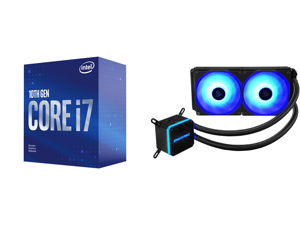 Intel Core i7-10700F Comet Lake 8-Core 2.9 GHz LGA 1200 65W BX8070110700F Desktop Processor and Enermax LIQMAX III RGB 240 All-in-one CPU Liquid Cooler for AM4 / LGA1200 240mm Radiator Dual-Chamber Water Block RGB Fan 5 Year Warranty