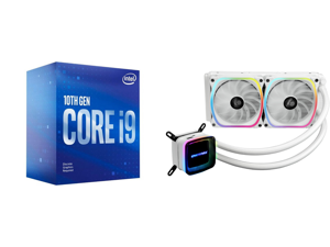 Intel Core i9-10900F Comet Lake 10-Core 2.8 GHz LGA 1200 65W BX8070110900F Desktop Processor and Enermax AQUAFUSION 240 Addressable RGB All-in-one CPU Liquid Cooler for AM4 / LGA1200 240mm Radiator Dual-Chamber Water Block SquA RGB Fan Whit