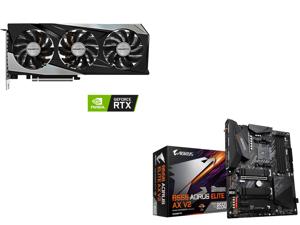 GIGABYTE GeForce RTX 3060 Ti GAMING OC PRO 8G (rev 2.0) Graphics Card WINDFORCE 3x Cooling System 8GB 256-bit GDDR6 GV-N306TGAMINGOC PRO-8GD Video Card and GIGABYTE B550 AORUS ELITE AX V2 AM4 AMD B550 ATX Motherboard with Dual M.2 SATA 6Gb/
