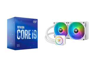 Intel Core i9-10900F Comet Lake 10-Core 2.8 GHz LGA 1200 65W BX8070110900F Desktop Processor and Thermaltake TH240 ARGB Snow Edition AMD/Intel LGA1200 Ready All-in-One Liquid Cooling System 240mm High Efficiency Radiator CPU Cooler CL-W301-