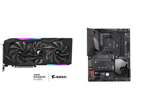 GIGABYTE AORUS Radeon RX 6800 MASTER 16G Graphics Card MAX-COVERED Cooling 16GB 256-bit GDDR6 GV-R68AORUS M-16GD Video Card and GIGABYTE X570 AORUS ELITE AMD Ryzen 3000 PCIe 4.0 SATA 6Gb/s USB 3.2 AMD X570 ATX Motherboard