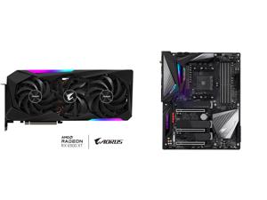 GIGABYTE AORUS Radeon RX 6900 XT DirectX 12 Ultimate GV-R69XTAORUS M-16GD 16GB 256-Bit GDDR6 PCI Express 4.0 x16 ATX Video Card and GIGABYTE X570 AORUS MASTER (rev. 1.0) AMD Ryzen 3000 PCIe 4.0 SATA 6Gb/s USB 3.2 AMD X570 ATX Motherboard