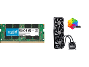 Crucial 8GB 260-Pin DDR4 SO-DIMM DDR4 2666 (PC4 21300) Laptop Memory Model CT8G4SFRA266 and EVGA CLC 360 400-HY-CL36-V1 All-In-One RGB LED CPU Liquid Cooler 3x FX12 120mm PWM Fans Intel AMD