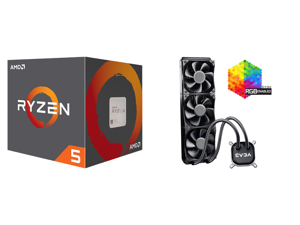 AMD RYZEN 5 2600 6-Core 3.4 GHz (3.9 GHz Max Boost) Socket AM4 65W YD2600BBAFBOX Desktop Processor and EVGA CLC 360 400-HY-CL36-V1 All-In-One RGB LED CPU Liquid Cooler 3x FX12 120mm PWM Fans Intel AMD