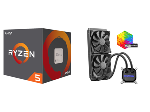 AMD RYZEN 5 2600 6-Core 3.4 GHz (3.9 GHz Max Boost) Socket AM4 65W YD2600BBAFBOX Desktop Processor and EVGA CLC 280mm All-In-One RGB LED CPU Liquid Cooler 2x FX13 140mm PWM Fans Intel AMD 400-HY-CL28-V1