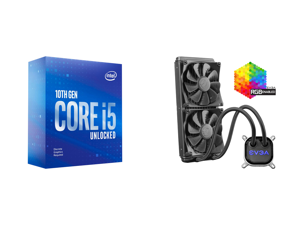 Intel Core i5-10600KF Comet Lake 6-Core 4.1 GHz LGA 1200 125W BX8070110600KF Desktop Processor and EVGA CLC 280mm All-In-One RGB LED CPU Liquid Cooler 2x FX13 140mm PWM Fans Intel AMD 400-HY-CL28-V1