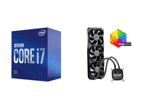 Intel Core i7-10700F Comet Lake 8-Core 2.9 GHz LGA 1200 65W BX8070110700F Desktop Processor and EVGA CLC 360 400-HY-CL36-V1 All-In-One RGB LED CPU Liquid Cooler 3x FX12 120mm PWM Fans Intel AMD