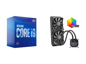 Intel Core i9-10900F Comet Lake 10-Core 2.8 GHz LGA 1200 65W BX8070110900F Desktop Processor and EVGA CLC 280mm All-In-One RGB LED CPU Liquid Cooler 2x FX13 140mm PWM Fans Intel AMD 400-HY-CL28-V1