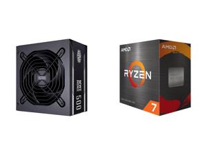Cooler Master MWE 500 Watt Silencio Fan Modular 80 PLUS Bronze Power Supply and AMD Ryzen 7 5800X 8-Core 3.8 GHz Socket AM4 105W 100-100000063WOF Desktop Processor