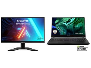 "GIGABYTE G27Q 27"" 144Hz 1440P Gaming Monitor 2560 x 1440 IPS Display 1ms (MPRT) Response Time 92% DCI-P3 VESA Display HDR400 FreeSync Premium 1x DisplayPort 1.2 2x HDMI 2.0 2x USB 3.0 and GIGABYTE AERO 15 - 15.6"" - Intel Core i7-10870H - NV"