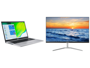 "Acer Laptop Aspire 5 A515-56-76J1 Intel Core i7 11th Gen 1165G7 (2.80 GHz) 12 GB Memory 512 GB NVMe SSD Intel Iris Xe Graphics 15.6"" Windows 10 Home 64-bit and Westinghouse WH27FX9019 27"" Full HD 1920 x 1080 HDMI VGA Flicker-Free Technology"