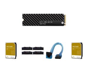 Western Digital WD BLACK SN750 NVMe M.2 2280 2TB PCI-Express 3.0 x4 64-layer 3D NAND Internal Solid State Drive (SSD) WDS200T3XHC W/ Heatsink and 2 x WD Gold 16TB Enterprise Class Hard Disk Drive - 7200 RPM Class SATA 6Gb/s 512MB Cache 3.5