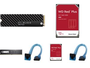 Western Digital WD BLACK SN750 NVMe M.2 2280 2TB PCI-Express 3.0 x4 64-layer 3D NAND Internal Solid State Drive (SSD) WDS200T3XHC W/ Heatsink and 2 x WD Red Plus 12TB NAS Hard Disk Drive - 7200 RPM Class SATA 6Gb/s CMR 256MB Cache 3.5 Inch