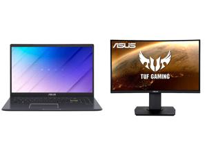 "ASUS Laptop L510MA-DB02 Intel Celeron N4020 (1.10 GHz) 4 GB Memory 64 GB eMMC Intel UHD Graphics 600 15.6"" Windows 10 S and ASUS TUF Gaming VG24VQ 24"" Full HD 1920 x 1080 1ms MPRT 144Hz 2 x HDMI DisplayPort AMD FreeSync Asus Eye Care with U"
