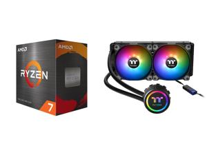 AMD Ryzen 7 5800X 8-Core 3.8 GHz Socket AM4 105W 100-100000063WOF Desktop Processor and Thermaltake Water 3.0 240 ARGB Sync Edition CL-W233-PL12SW-B Water Cooler