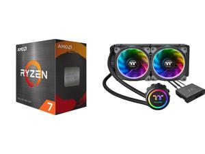 AMD Ryzen 7 5800X 8-Core 3.8 GHz Socket AM4 105W 100-100000063WOF Desktop Processor and Thermaltake Floe AIO Riing RGB 240 TT Premium Edition PWM TR4 LGA2066 Ready Liquid Cooling System CL-W157-PL12SW-A