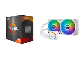 AMD Ryzen 7 5800X 8-Core 3.8 GHz Socket AM4 105W 100-100000063WOF Desktop Processor and Thermaltake TH240 ARGB Snow Edition AMD/Intel LGA1200 Ready All-in-One Liquid Cooling System 240mm High Efficiency Radiator CPU Cooler CL-W301-PL12SW-A
