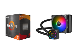 AMD Ryzen 7 5800X 8-Core 3.8 GHz Socket AM4 105W 100-100000063WOF Desktop Processor and Thermaltake TH120 ARGB Motherboard Sync Edition Intel/AMD All-in-One Liquid Cooling System 120mm High Efficiency Radiator CPU Cooler CL-W285-PL12SW-A