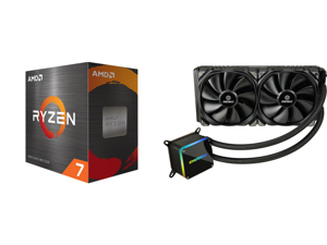 AMD Ryzen 7 5800X 8-Core 3.8 GHz Socket AM4 105W 100-100000063WOF Desktop Processor and Enermax LIQTECH II 280 Addressable RGB All-in-one CPU Liquid Cooler for AM4 / LGA1200 280mm Radiator Dual-Chamber RGB Pump T.B. Pressure Fan Blades 5 Ye