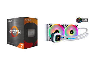 AMD Ryzen 7 5800X 8-Core 3.8 GHz Socket AM4 105W 100-100000063WOF Desktop Processor and Corsair Hydro Series H100i RGB PLATINUM SE 240mm Radiator Dual LL120 RGB PWM Fans Advanced RGB Lighting and Fan Control with Software Liquid CPU Cooler.