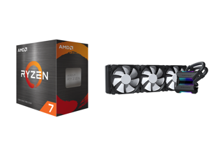 AMD Ryzen 7 5800X 8-Core 3.8 GHz Socket AM4 105W 100-100000063WOF Desktop Processor and Phanteks Glacier One 360MP D-RGB AIO Liquid CPU Cooler Infinity Mirror Pump Cap Design 3x Silent 120mm MP PWM Fans Black PH-GO360MP_DBK01