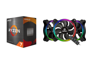 AMD Ryzen 7 5800X 8-Core 3.8 GHz Socket AM4 105W 100-100000063WOF Desktop Processor and Enermax T.B. RGB AD 4-Ring Addressable RGB sync 120mm Fan Halo-Arc shape 3 Fans PK Black UCTBRGBA12P-BP3