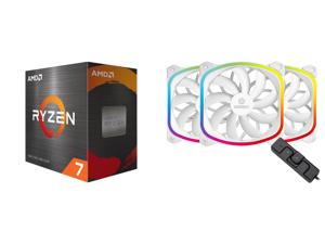 AMD Ryzen 7 5800X 8-Core 3.8 GHz Socket AM4 105W 100-100000063WOF Desktop Processor and Enermax SquA 120mm Dual Light Loop RGB LED PWN Fan 3 Pack w/ RGB Control Box - White UCSQARGB12P-W-BP3