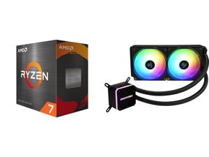 AMD Ryzen 7 5800X 8-Core 3.8 GHz Socket AM4 105W 100-100000063WOF Desktop Processor and Enermax LIQMAX III ARGB 240 Addressable RGB All-in-one CPU Liquid Cooler for AM4 / LGA1200 240mm Radiator Dual-Chamber Water Block ARGB Fan 5 Year Warra