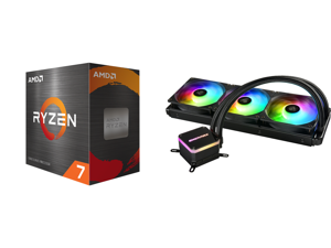 AMD Ryzen 7 5800X 8-Core 3.8 GHz Socket AM4 105W 100-100000063WOF Desktop Processor and Enermax LIQMAX III ARGB 360 Addressable RGB All-in-one CPU Liquid Cooler for AM4 / LGA1200 360mm Radiator Dual-Chamber Water Block ARGB Fan 5 Year Warra