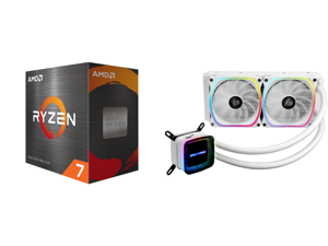 AMD Ryzen 7 5800X 8-Core 3.8 GHz Socket AM4 105W 100-100000063WOF Desktop Processor and Enermax AQUAFUSION 240 Addressable RGB All-in-one CPU Liquid Cooler for AM4 / LGA1200 240mm Radiator Dual-Chamber Water Block SquA RGB Fan White 5 Year