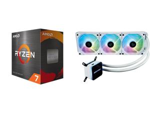 AMD Ryzen 7 5800X 8-Core 3.8 GHz Socket AM4 105W 100-100000063WOF Desktop Processor and Enermax LIQMAX III ARGB 360 Addressable RGB All-in-one CPU Liquid Cooler for AM4 / LGA1200 360mm Radiator Dual-Chamber Water Block ARGB Fan White 5 Year